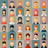 Ícones lisos do avatar do caráter dos povos ilustração do vetor