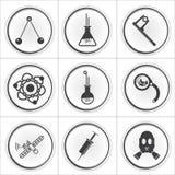 9 ícones lisos do círculo da ciência Foto de Stock