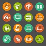Ícones lisos do círculo da logística nova ajustados Fotografia de Stock Royalty Free