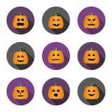 Ícones lisos do círculo das abóboras de Dia das Bruxas ajustados Imagens de Stock Royalty Free