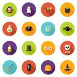Ícones lisos do círculo de Dia das Bruxas ajustados Imagem de Stock Royalty Free
