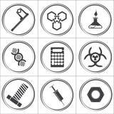 Ícones lisos do círculo do vetor da ciência Imagens de Stock Royalty Free