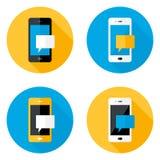 Ícones lisos do círculo móvel da mensagem ajustados Imagem de Stock