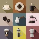 Ícones lisos do café Imagens de Stock