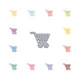 Ícones lisos do carrinho de compras ajustados Fotografia de Stock