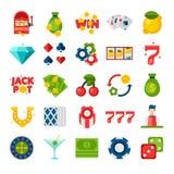Ícones lisos do casino 25 Imagens de Stock