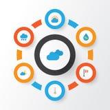 Ícones lisos do clima ajustados A coleção da chuva, gota, nubla e outros elementos Igualmente inclui símbolos como a nuvem, gotej Imagens de Stock