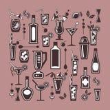 Ícones lisos do cocktail do vetor Fotografia de Stock Royalty Free