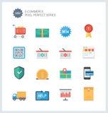 Ícones lisos do comércio eletrônico perfeito do pixel Imagens de Stock