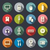 Ícones lisos do computador ajustados ilustração do vetor