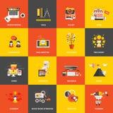 Ícones lisos do conceito de projeto Fotos de Stock Royalty Free