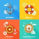 Ícones lisos do conceito de projeto 4 náuticos Imagem de Stock