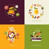 Ícones lisos do conceito de projeto para o alimento e o restaurante