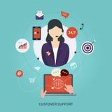 Ícones lisos do conceito do serviço do cuidado do cliente empresa Fotografia de Stock