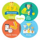 Ícones lisos do conceito do vencedor da maratona do gym, alimento saudável, medidor Imagens de Stock