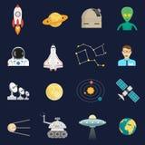 Ícones lisos do cosmos do espaço ajustados ilustração do vetor