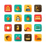 Ícones lisos do curso do hotel ajustados Imagens de Stock