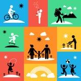 Ícones lisos do curso do verão Imagens de Stock Royalty Free