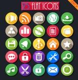 Ícones lisos do Desktop ajustados Ilustração Stock