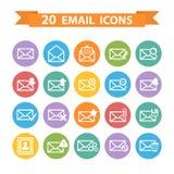 Ícones lisos do email ajustados Imagens de Stock