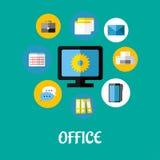 Ícones lisos do escritório ajustados Fotos de Stock
