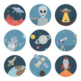 Ícones lisos do espaço Imagens de Stock Royalty Free