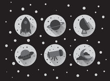 Ícones lisos do espaço ilustração royalty free