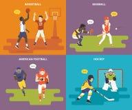 Ícones lisos do esporte ajustados Imagem de Stock Royalty Free