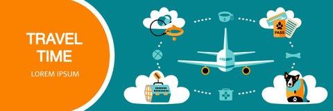 Ícones lisos do estilo da viagem com um animal de estimação no avião ou no carro ilustração royalty free