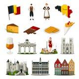 Ícones lisos do estilo de Bélgica ajustados ilustração stock