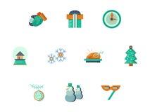 Ícones lisos do estilo do partido do ano novo ajustados Foto de Stock Royalty Free