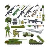 Ícones lisos do exército militar ilustração royalty free