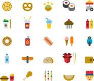 Ícones lisos do fast food Imagem de Stock