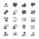 Ícones lisos do feedback e da revisão ilustração royalty free