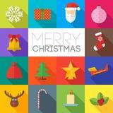 Ícones lisos do Feliz Natal ajustados Imagens de Stock Royalty Free