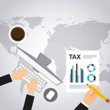 Ícones lisos do formulário de imposto ilustração royalty free