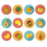 Ícones lisos do fruto Foto de Stock
