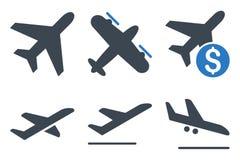 Ícones lisos do Glyph da aviação Fotos de Stock