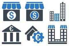 Ícones lisos do Glyph da construção de banco Imagens de Stock