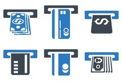 Ícones lisos do Glyph de Cashout do banco do ATM Imagens de Stock Royalty Free