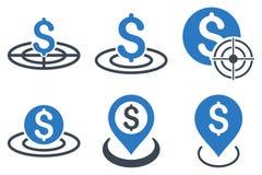 Ícones lisos do Glyph do alvo do negócio Imagem de Stock Royalty Free