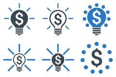 Ícones lisos do Glyph do bulbo financeiro da ideia Imagem de Stock