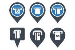 Ícones lisos do Glyph do ponteiro do mapa do ATM Imagem de Stock