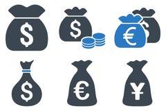 Ícones lisos do Glyph do saco do dinheiro Imagens de Stock Royalty Free