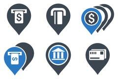 Ícones lisos do Glyph dos ponteiros do ATM da operação bancária Imagens de Stock Royalty Free