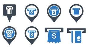 Ícones lisos do Glyph dos ponteiros do ATM do banco Imagem de Stock