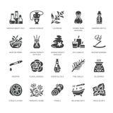 Ícones lisos do glyph do vetor da aromaterapia dos óleos essenciais ajustados Elementos - difusor da terapia do aroma, queimador  ilustração do vetor