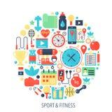 Ícones lisos do infographics do esporte da aptidão no círculo - colora a ilustração do conceito para a tampa do esporte, emblema, Fotografia de Stock Royalty Free