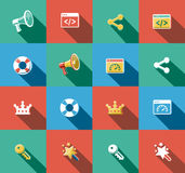 Ícones lisos do Internet e da Web ajustados Imagem de Stock Royalty Free