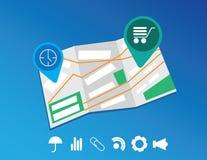 Ícones lisos do mapa e do lugar ajustados Fotos de Stock